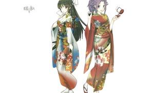 Картинка узор, белый фон, кимоно, подруги, Kantai Collection, Флотская Коллекция, Jun`you, Hiyou, две девочки