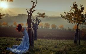 Обои девушка, Miss Froggi, деревья, восход, солнце, lovely colors, осень