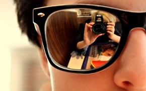 Картинка отражение, очки, Обои