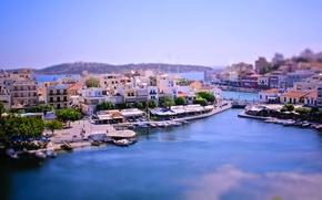 Картинка город, бухта, лодки, Греция, tilt-shift, тилт-шифт