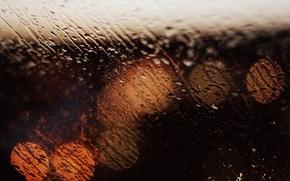 Картинка стекло, вода, капли, макро, огни, фон, дождь, widescreen, обои, размытие, окно, wallpaper, rain, широкоформатные, background, ...