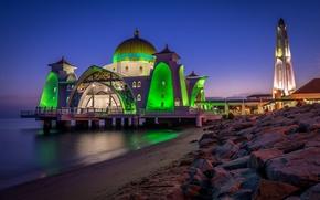 Картинка свет, ночь, город, камни, берег, мечеть, архитектура, Malacca Straits Mosque, Малака