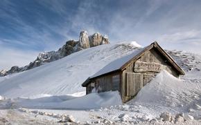 Картинка снег, горы, дом