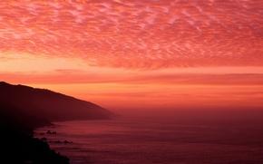 Картинка небо, облака, закат, Море, горизонт