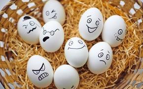 Картинка корзина, яйца, Пасха, smile, Easter, eggs, funny