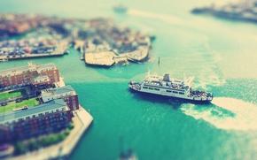 Картинка город, корабль, порт, паром