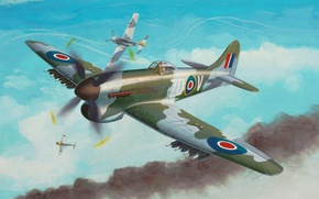 Картинка war, art, airplane, painting, aviation, ww2, Hawker Tempest Mk.V
