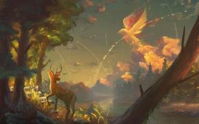 Картинка лес, небо, облака, дерево, птица, олень, арт, оленёнок