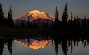 Картинка лес, горы, ночь, река