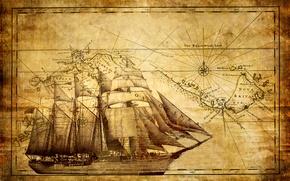 Картинка корабль, карта, парусник, фрегат