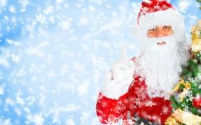 Картинка снежинки, елка, Рождество, Новый год, Санта Клаус, Дед Мороз, New Year, smiling Santa, Christmas Tree