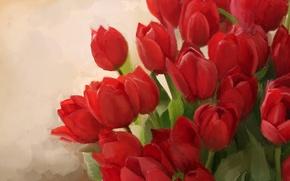 Картинка фон, букет, арт, тюльпаны, красные