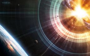 Обои Planets, Звезды, Stars, Space, Свет, Земля, Earth, Планеты, Взрыв