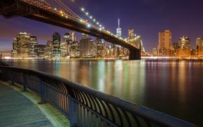 Картинка ночь, Нью-Йорк, США, Бруклинский мост, Манхэттен