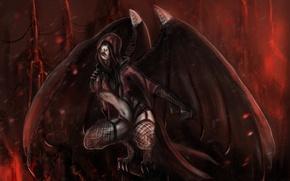 Картинка взгляд, Mortal Kombat, крылья, арт, Nitara, когти, вампирша, высота