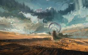 Обои облака, фантастика, небо, человек, врата, пустыня, ворота, арт, пейзаж