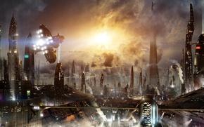 Обои летательные аппараты, Futuristic city 3, мегаполис, аэрокары, science fiction, футуризм, небоскрёбы, машины, город, огни, Scott ...