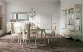 Картинка стол, комната, мебель, стулья, интерьер, столовая