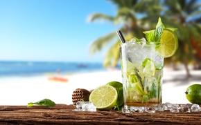 Обои коктейль, summer, beach, fresh, sea, paradise, drink, mojito, cocktail, lime, мохито, vacation, mint, tropical