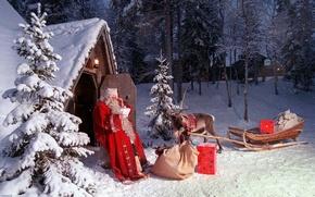 Обои санта клаус, рождество, новый год, олень, зима