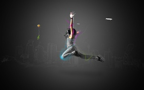 Картинка линии, прыжок, шар