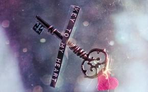 Картинка стекло, сердце, записка, ключь