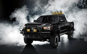 Картинка черный, Toyota, пикап, Black, тойота, Tacoma, такома