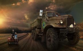 Обои грузовик, дорога, дети