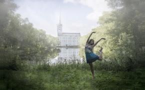 Обои парк, настроение, девушка, природа, танец, пруд