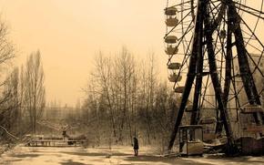 Картинка одиночество, Карусель, девушка, город