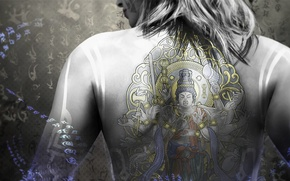 Обои голова, татуировка, волосы, Nintendo, рисунок, спина, губы, иероглифы, Devils Third, Valhalla Game Studios