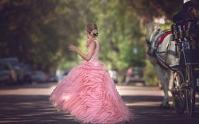 Картинка улица, платье, девочка, Julia Altork, The Carriage