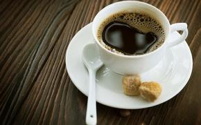 Обои блюдце, стол, чашка, кофе, горячий, ложка