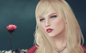 Картинка цветок, девушка, лицо, фон, волосы