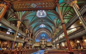 Картинка Канада, церковь, балкон, религия, колонна, Собор Монреальской Богоматери, Базилика Нотр-Дам де Монреаль