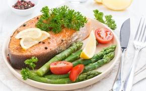 Картинка рыба, овощи, лосось, спаржа
