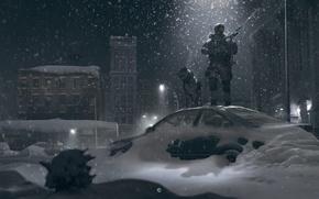 Картинка зима, свет, снег, ночь, улица, собака, солдат, фонарь, автомобиль
