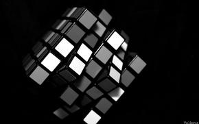Обои кубик рубика, белый, черный