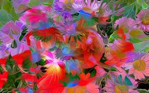 Обои цветы, лепестки, рендеринг, краски, линии