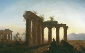 Картинка человек, Развалины, живопись, закат солнца, греческий храм