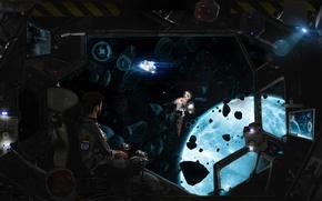 Картинка космос, космонавт, скафандр, пилот, spaceship, астронавт, корабль метеориты