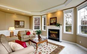 Картинка дизайн, стиль, комната, диван, лампа, интерьер, картина, камин