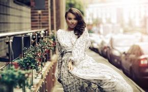 Картинка взгляд, девушка, улица, платье, походка, Karen Abramyan