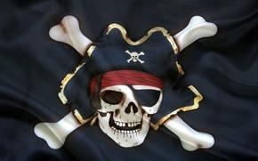 Картинка шляпа, флаг, скелет, Веселый роджер
