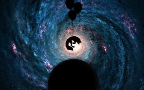 Картинка космос, фон, животное, вселенная, планета, собака, шарик, Зверь