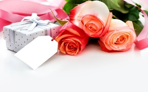 Обои holiday, flowers, roses, bouquet, gift, box, ribbon, праздник