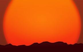 Картинка солнце, закат, горы, горизонт