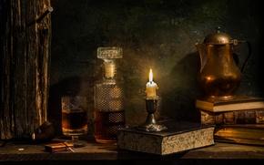 Картинка вино, книги, свеча, графин, Single malt