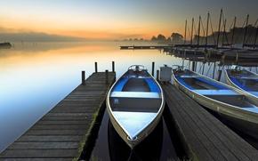 Картинка туман, озеро, рассвет, лодка