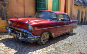 Обои ретро, старый, автомобиль, обои, машина, Chevrolet, куба, гавана